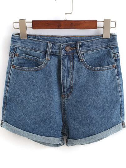 Blue Pockets Flange Denim Shorts