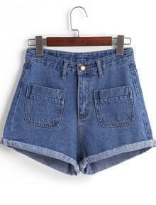 Blue High Waist Pockets Denim Shorts