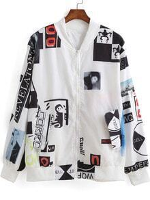 White Long Sleeve Log Print Coat