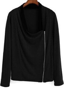 Black Draped Neck Zipper Asymmetrical Coat