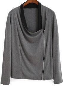 Grey Draped Neck Zipper Asymmetrical Coat