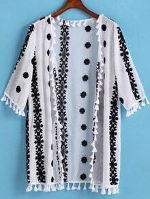 White Half Sleeve Embroidered Chiffon Kimono