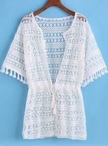 White Short Sleeve Hollow Tassel Kimono