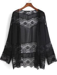 Black Long Sleeve Lace Chiffon Kimono