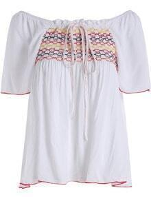 White Boat Neck Embroidered Drawstring Blouse