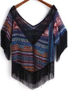 Multicolor V Neck Lace Tassel Blouse