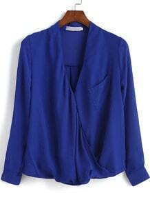 Blue V Neck Pocket Loose Chiffon Blouse