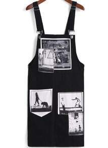 Black Strap Photo Print Pinafore Dress
