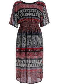 Red Short Sleeve Tribal Print Chiffon Dress