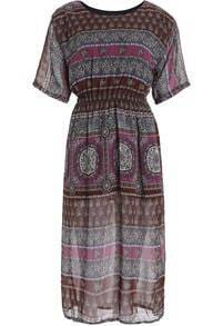 Khaki Short Sleeve Tribal Print Chiffon Dress