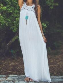 White Sleeveless Lace Chiffon Maxi Dress