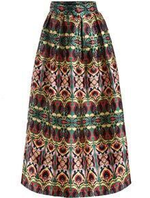 Multicolor High Waist Floral Long Skirt