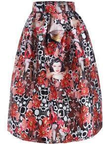 Red High Waist Floral Beauty Print Skirt