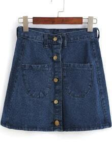Navy Vintage Buttons Pockets Denim Skirt