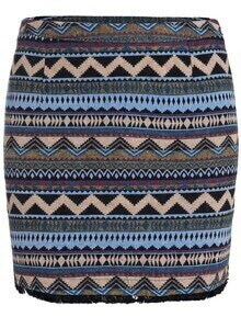 Blue Tribal Print Bodycon Skirt