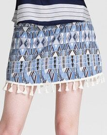 Blue Tribal Print Tassel Skirt