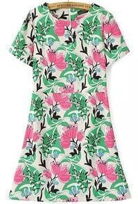 Red Green Short Sleeve Floral Slim Dress