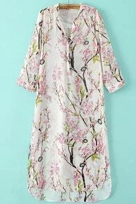 Pink Stand Collar Floral Split Chiffon Dress