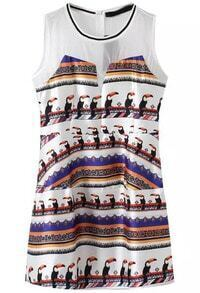 White Sleeveless Parrot Print Slim Dress