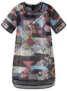 Black Short Sleeve Geometric Print Organza Dress
