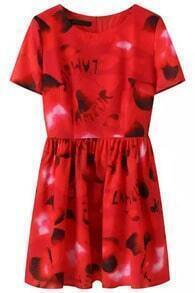 Red Short Sleeve Hearts Print Loose Dress