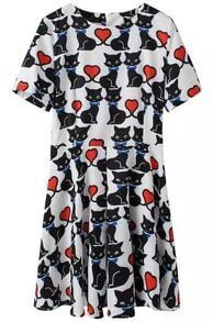 Black White Short Sleeve Heart Cat Print Dress