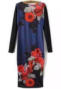 Black Long Sleeve Rose Print Bodycon Dress