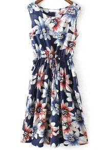 Navy Sleeveless Floral Pleated Maxi Dress