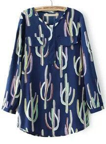 Blue Long Sleeve Cactus Print Pockets Blouse