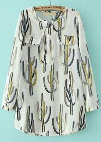White Long Sleeve Cactus Print Pockets Blouse