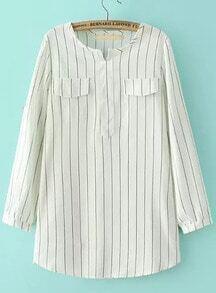 White Long Sleeve Vertical Stripe Pockets Blouse