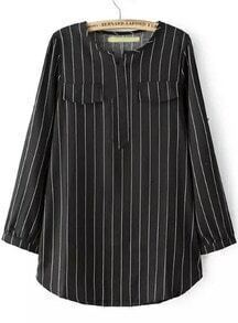 Black Long Sleeve Vertical Stripe Pockets Blouse