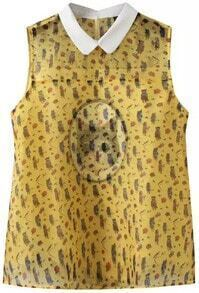 Yellow Contrast Collar Cats Print Organza Blouse