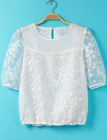 White Short Sleeve Embroidered Crop Blouse