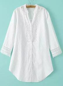 White V Neck Lace Loose Blouse