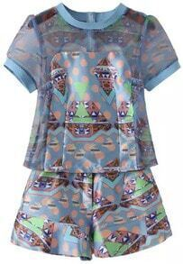 Blue Short Sleeve Geometric Print Organza Top With Shorts