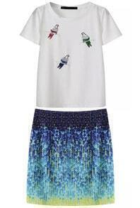White Sequined Birds T-Shirt With Blue Bodycon Skirt