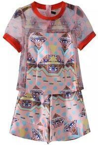 Red Short Sleeve Geometric Print Organza Top With Shorts
