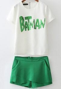 White Sequined BARMAN Print Top With Green Shorts