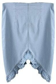 Blue Asymmetrical Ruffle Denim Skirt