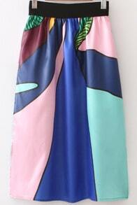 Multicolor High Waist Long Skirt