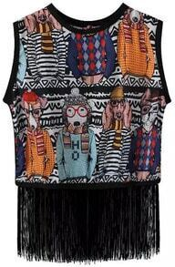Multicolor Round Neck Dogs Print Tassel Tank Top