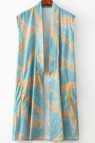 Blue Sleeveless Geometric Print Split Kimono