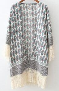 Blue Cashew Print Tassel Casual Kimono