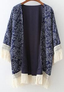 Navy Floral Tassel Loose Kimono