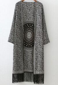 Black White Floral Tassel Loose Casual Kimono