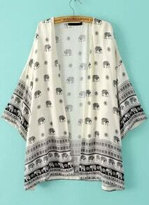 Beige Elephants Print Loose Kimono
