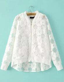 White Long Sleeve Flocked Grid Jacket