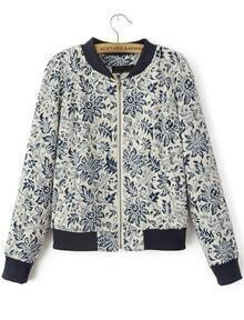 Navy Long Sleeve Vintage Floral Crop Jacket