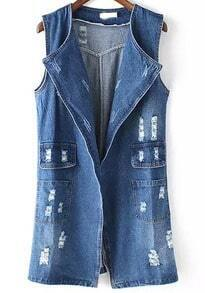 Blue Ripped Pockets Denim Vest